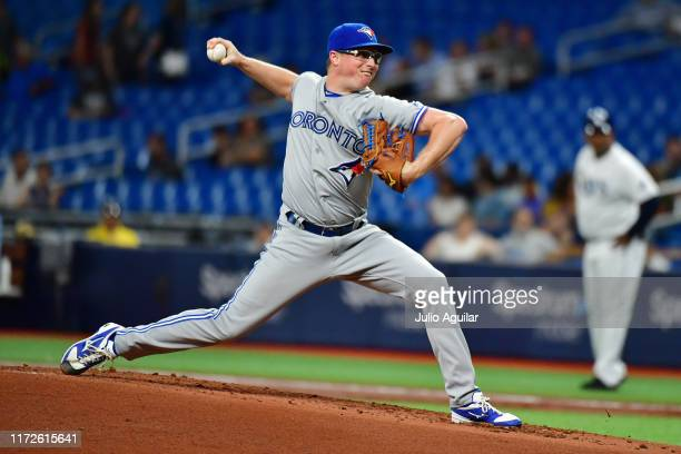 Trent Thornton of the Toronto Blue Jays pitches to the Tampa Bay Rays in the first inning of a baseball game at Tropicana Field on September 05 2019...