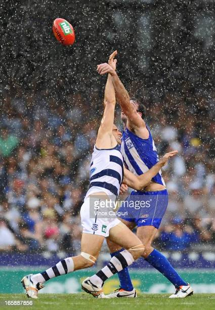 Trent West of the Cats and Todd Goldstein of the Kangaroos contest the ruck in pouring rain during the round two AFL match between the Geelong Cats...