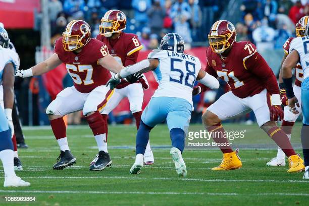 Trent Williams and Zac Kerin of the Washington Redskins play against the Tennessee Titans at Nissan Stadium on December 22 2018 in Nashville Tennessee