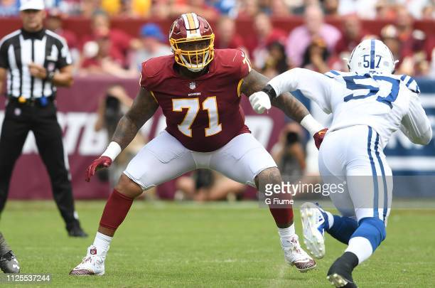 Trent Williams of the Washington Redskins blocks against the Indianapolis Colts at FedExField on September 16 2018 in Landover Maryland