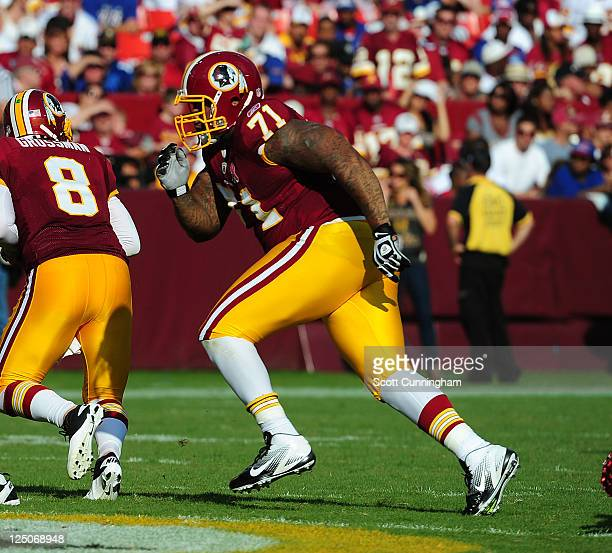 Trent Williams of the Washington Redskins blocks against the New York Giants at FedEx Field on September 11 2011 in Landover Maryland