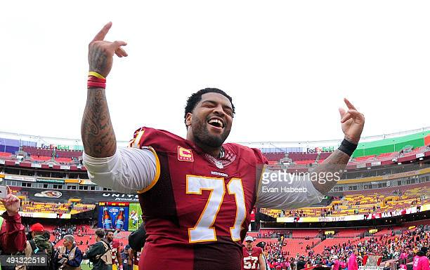 Trent Williams of the Washington Redskins celebrates after beating the Philadelphia Eagles 2320 at FedExField on October 4 2015 in Landover Maryland