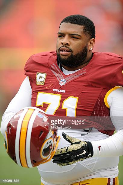 Trent Williams of the Washington Redskins looks on during a NFL football game against the Tampa Bay Buccaneers at FedExField on November 16 2014 in...