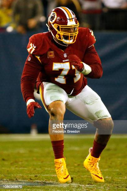 Trent Williams of the Washington Redskins plays against the Tennessee Titans at Nissan Stadium on December 22 2018 in Nashville Tennessee