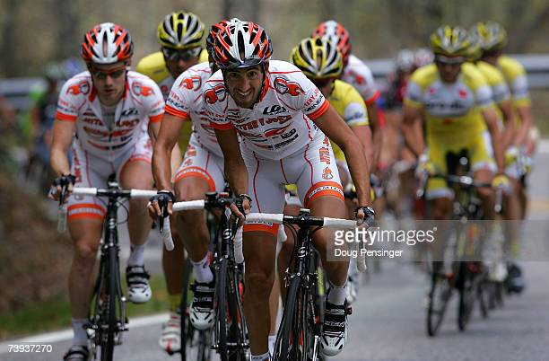 Trent Wilson of Australia and his Jittery Joe's Pro Cycling Teammate drive the peloton in hopes of delivering their team leader Cesar Grajales to the...