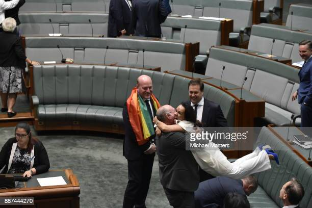 Trent Zimmerman and MP Linda Burney celebrate at Parliament House on December 7 2017 in Canberra Australia The historic bill was passed on the voices...