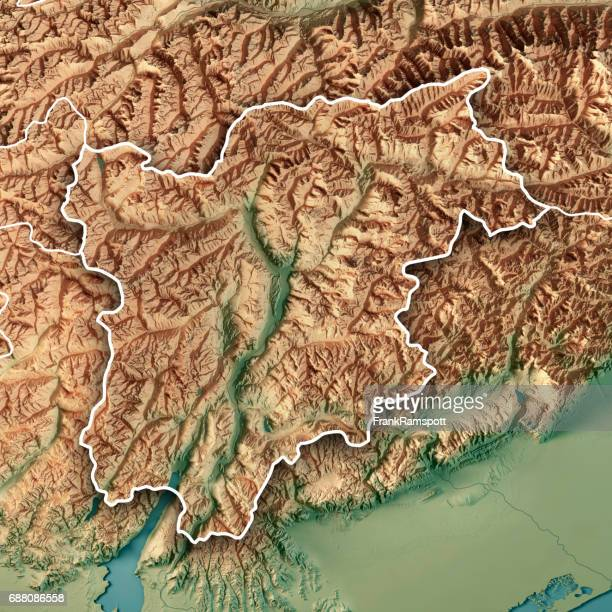 trentino alto adige regione autonoma italy 3d render topographic map border - frank ramspott stock pictures, royalty-free photos & images