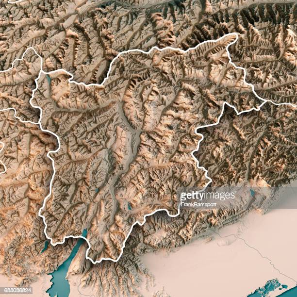 trentino alto adige regione autonoma italy 3d render topographic map neutral border - frank ramspott stock pictures, royalty-free photos & images