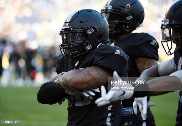 TrentRichardson of the Birmingham Iron celebrates after scoring a touchdown during the first quarter against the San Diego Fleet in an Alliance of...
