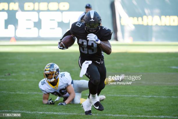 Trent Richardson of the Birmingham Iron scores a touchdown during the first quarter against the San Diego Fleet in an Alliance of American Football...