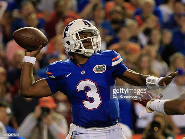 Treon Harris of the Florida Gators attempts a pass during the game against the Florida State Seminoles at Ben Hill Griffin Stadium on November 28...