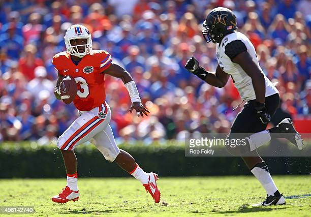 Treon Harris of the Florida Gators carries during the second quarter of the game against the Vanderbilt Commodores at Ben Hill Griffin Stadium on...