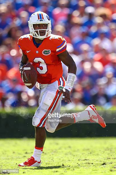 Treon Harris of the Florida Gators in action during the game against the Vanderbilt Commodores at Ben Hill Griffin Stadium on November 7 2015 in...