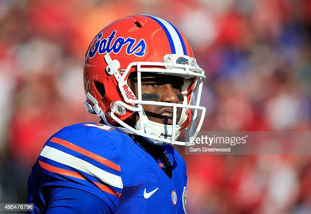 Treon Harris of the Florida Gators looks to the sidelines during the game against the Georgia Bulldogs at EverBank Field on October 31 2015 in...