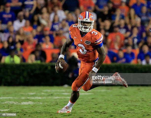 Treon Harris of the Florida Gators scrambles for yardage during the game against the East Carolina Pirates at Ben Hill Griffin Stadium on September...