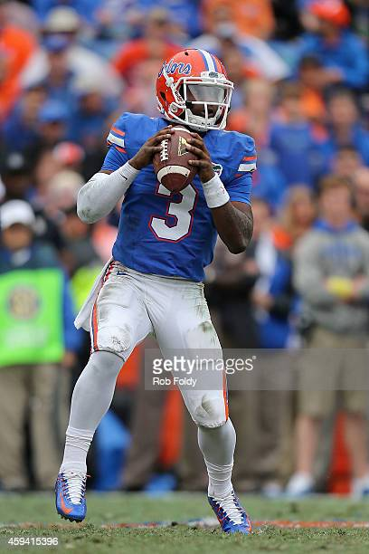 Treon Harris of the Florida Gators sets to throw during the first half of the game against the Eastern Kentucky Colonels at Ben Hill Griffin Stadium...