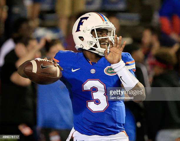 Treon Harris of the Florida Gators warms up before the game against the Florida State Seminoles at Ben Hill Griffin Stadium on November 28 2015 in...
