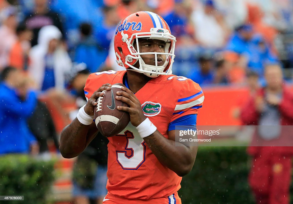 Treon Harris #3 of the Florida Gators warms up before the game at Ben Hill Griffin Stadium on September 12, 2015 in Gainesville, Florida.