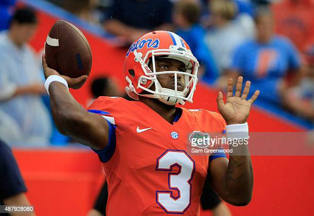 Treon Harris of the Florida Gators warms up before the game at Ben Hill Griffin Stadium on September 12 2015 in Gainesville Florida
