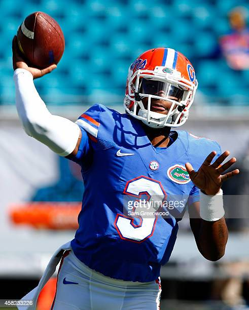 Treon Harris of the Florida Gators warms up before the game between the Georgia Bulldogs and the Florida Gators at EverBank Field on November 1 2014...