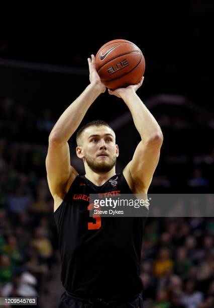 Tres Tinkle of the Oregon State Beavers shoots a free throw during the second half against the Oregon Ducks at Matthew Knight Arena on February 27,...