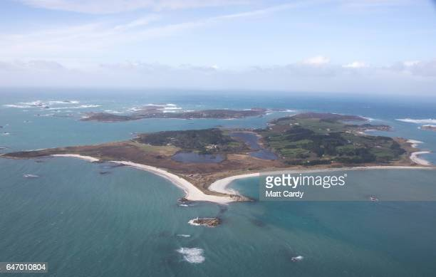 Tresco on the Isles of Scilly is seen from the air on February 23 2017 in Cornwall England The temperate Isles of Scilly with a population of just...