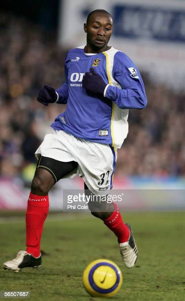 Tresor Lomana Lua Lua of Portsmouth in action during the Barclays Premiership match between Portsmouth and Fulham at Fratton Park on December 31 2005...