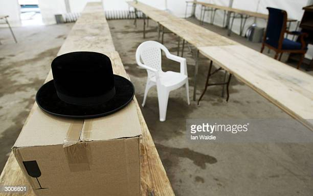 Trestle tables are erected February 20 2004 in London as a community of Hasidic Jews prepare for a gathering on their holy day of Shabbas The...