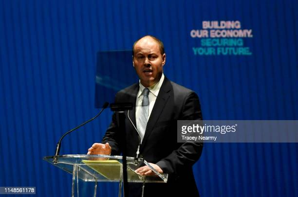 Tresurer Josh Frydenberg speaks at the Melbourne Convention and Exhibition Centre during the Liberal Campaign Launch on May 12 2019 in Melbourne...