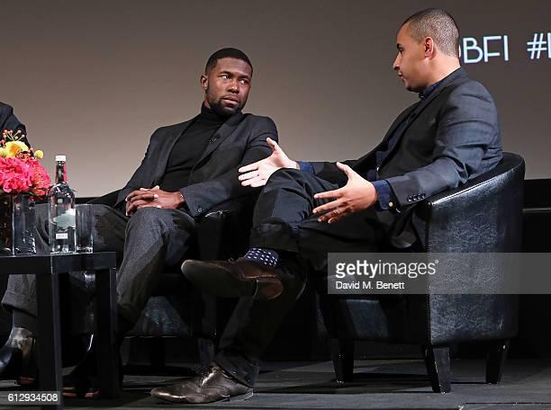 Trevante Rhodes and Ashley Clark attend BFI London Film Festival BLACK STAR Symposium on October 6 2016 in London England