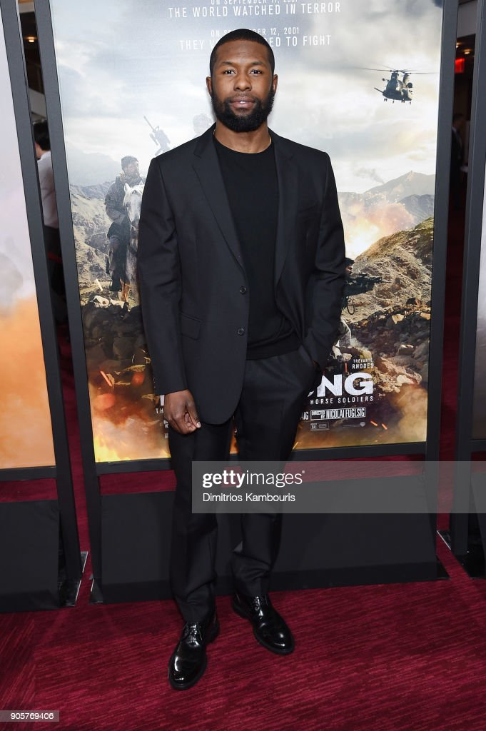 Trevante Rhodes attends the world premiere of '12 Strong' at Jazz at Lincoln Center on January 16, 2018 in New York City.