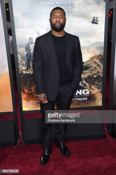 "Trevante Rhodes attends the world premiere of ""12 Strong"" at Jazz at Lincoln Center on January 16, 2018 in New York City."