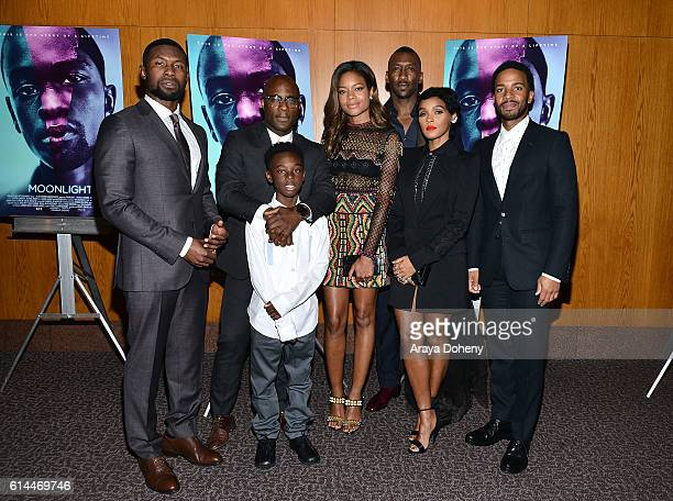 Trevante Rhodes Barry Jenkins Alex Hibbert Naomie Harris Mahershala Ali Janelle Monae and Andre Holland attend the premiere of A24's Moonlight at DGA...