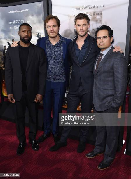 Trevante Rhodes Michael Shannon Chris Hemsworth and Michael Pena attend the world premiere of '12 Strong' at Jazz at Lincoln Center on January 16...
