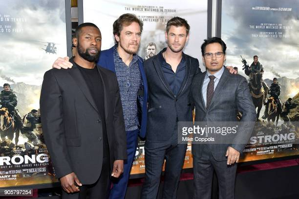 Trevante Rhodes Michael Shannon Chris Hemsworth and Michael Pena attend the '12 Strong' World Premiere at Jazz at Lincoln Center on January 16 2018...