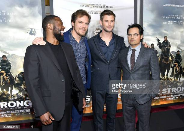 "Trevante Rhodes, Michael Shannon, Chris Hemsworth, and Michael Pena attend the ""12 Strong"" World Premiere at Jazz at Lincoln Center on January 16,..."