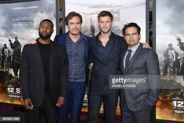 Trevante Rhodes Michael Shannon Chris Hemsworth and Michael Pena attend the world premiere of '12 Strong' at Jazz at Lincoln Center on January 16 in...
