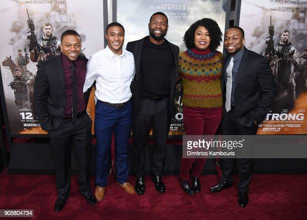 Trevante Rhodes poses with guests at the world premiere of '12 Strong' at Jazz at Lincoln Center on January 16 2018 in New York City