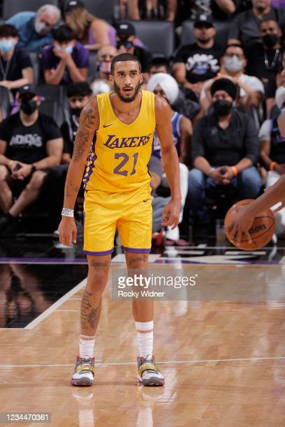 Trevelin Queen of the Los Angeles Lakers plays defense on Sacramento Kings during the 2021 California Classic Summer League on August 4, 2021 at...