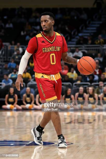 Trevell Cunningham of the Grambling State Tigers dribbles the ball in the second half against the Marquette Golden Eagles at the Fiserv Forum on...