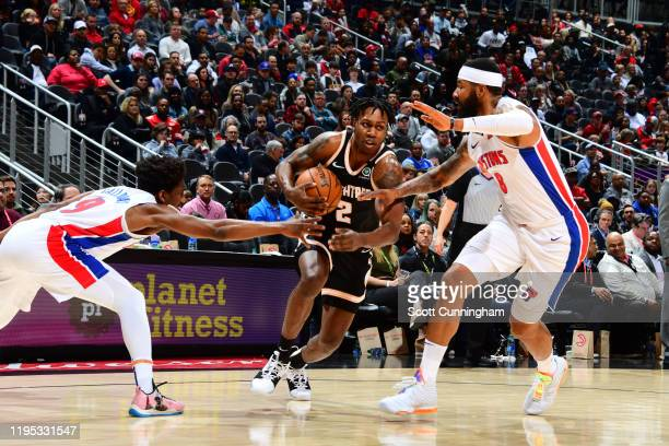 Treveon Graham of the Atlanta Hawks handles the ball against the Detroit Pistons on January 18 2020 at State Farm Arena in Atlanta Georgia NOTE TO...