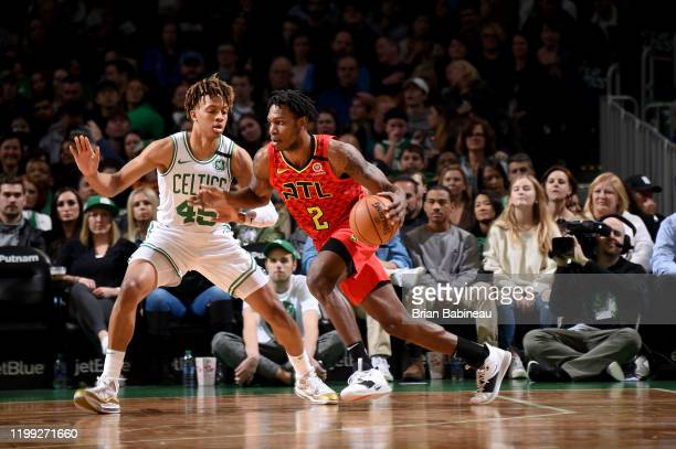 Treveon Graham of the Atlanta Hawks handles the ball during a game against the Boston Celtics on February 7 2020 at the TD Garden in Boston...