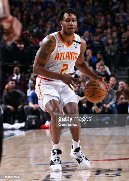 Treveon Graham of the Atlanta Hawks handles the ball during the game against the Dallas Mavericks on February 1 2020 at the American Airlines Center...