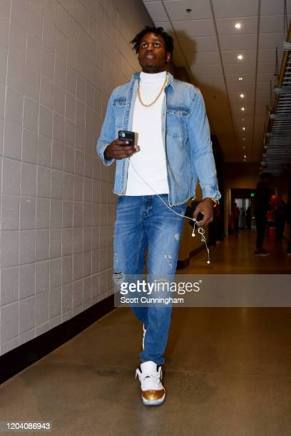 Treveon Graham of the Atlanta Hawks is seen leaving after the game against the Brooklyn Nets on February 28 2020 at State Farm Arena in Atlanta...