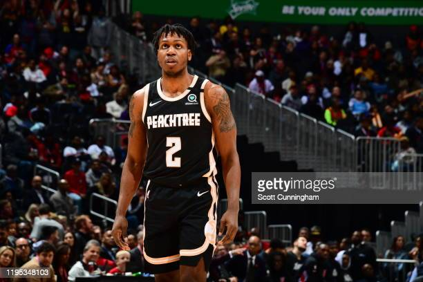 Treveon Graham of the Atlanta Hawks looks on during a game against the LA Clippers on January 22 2020 at State Farm Arena in Atlanta Georgia NOTE TO...