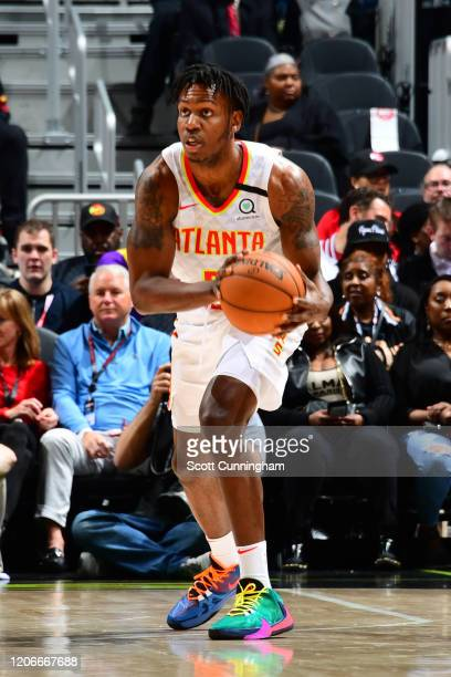 Treveon Graham of the Atlanta Hawks looks to pass the ball against the New York Knicks on March 11 2020 at State Farm Arena in Atlanta Georgia NOTE...