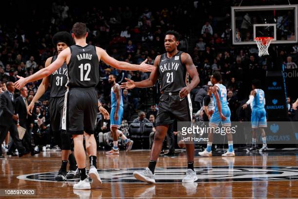 Treveon Graham of the Brooklyn Nets celebrates during the game against the Sacramento Kings on January 21 2019 at Barclays Center in New York NY NOTE...