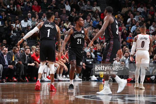 Treveon Graham of the Brooklyn Nets celebrates with his team during the game against the Portland Trail Blazers on February 21 2019 at Barclays...