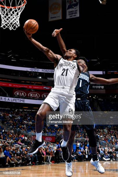 Treveon Graham of the Brooklyn Nets goes to the basket against the Orlando Magic on January 18 2019 at Amway Center in Orlando Florida NOTE TO USER...