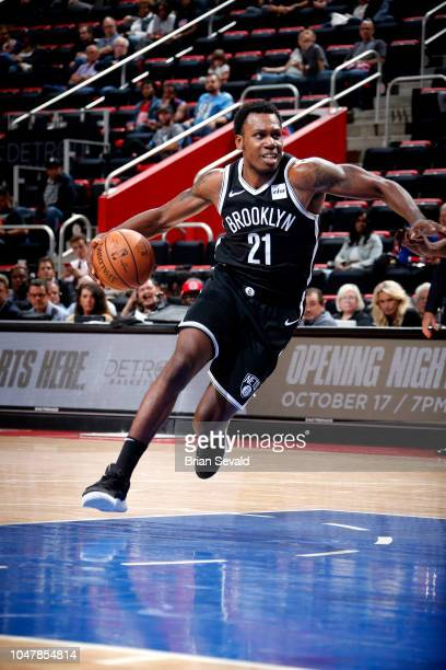 Treveon Graham of the Brooklyn Nets handles the ball against the Detroit Pistons during a preseason game on October 8 2018 at Little Caesars Arena in...